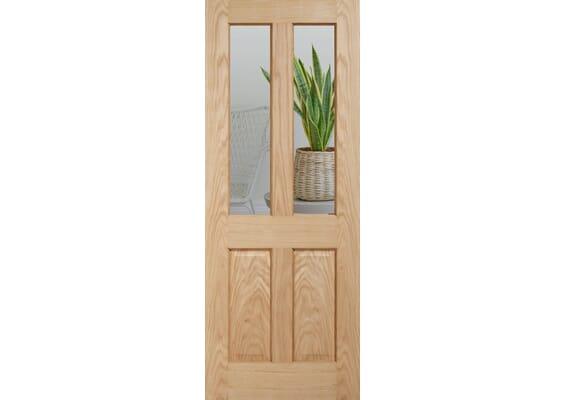 Traditional Victorian Oak 4 Panel Clear Glazed - Prefinished Internal Doors