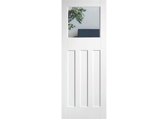 White DX30 - Clear Glass Doors