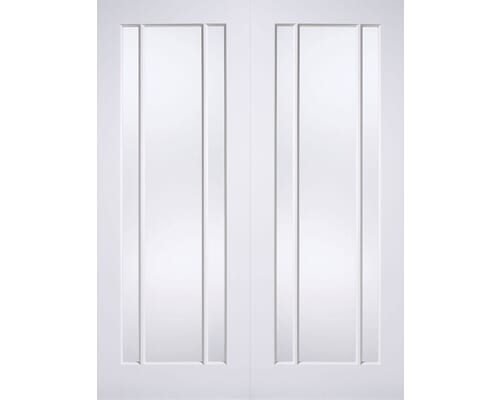 Lincoln White Pairs - Clear Glass Internal Doors