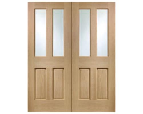 Malton Oak Pair - Clear Glazed  Internal Doors
