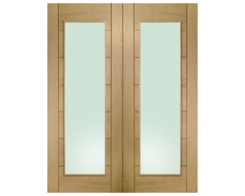 Palermo Oak Pair - Clear Glass Internal Doors