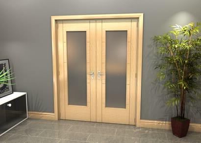 Oak Iseo 1 Light Frosted Glazed French Doors