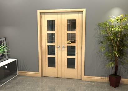 Oak Iseo 4 Light Clear Glazed French Doors