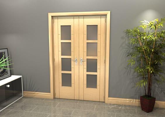 Oak Iseo 4L Obscure Glazed French Door Set 1122mm(W) x 2021mm(H)