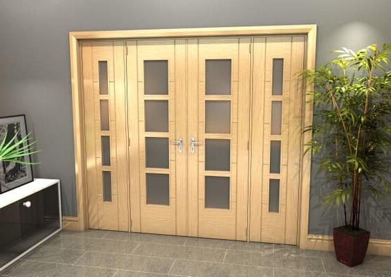 Oak Iseo 4L Obscure Glazed French Door Set 2226mm(W) x 2021mm(H)