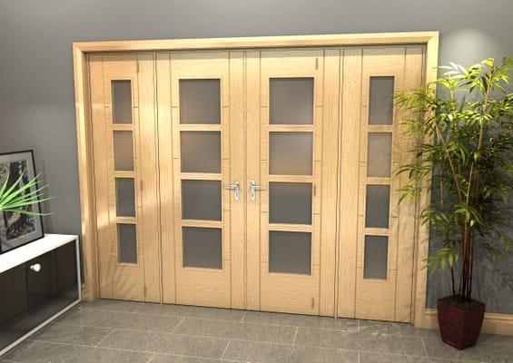 Oak Iseo 4L Obscure Glazed French Door Set 2378mm(W) x 2021mm(H)
