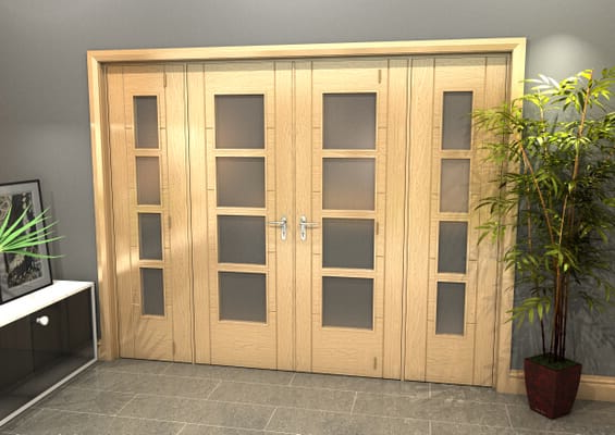 Oak Iseo 4L Obscure Glazed French Door Set 2836mm(W) x 2021mm(H)