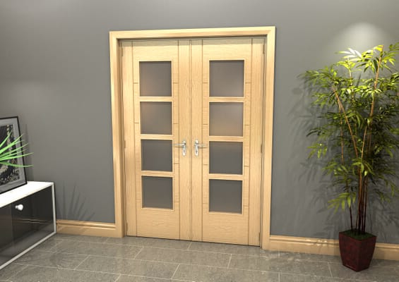 Oak Iseo 4L Obscure Glazed French Door Set 1426mm(W) x 2021mm(H)