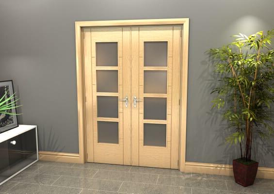 Oak Iseo 4L Obscure Glazed French Door Set 1478mm(W) x 2021mm(H)