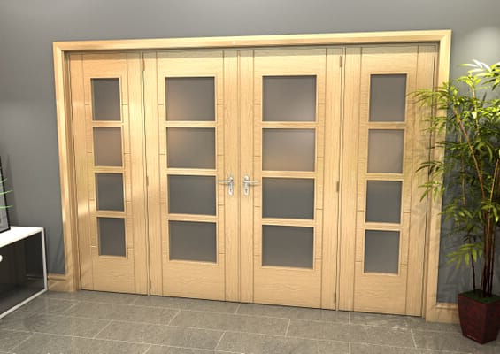 Oak Iseo 4L Obscure Glazed French Door Set 2996mm(W) x 2021mm(H)
