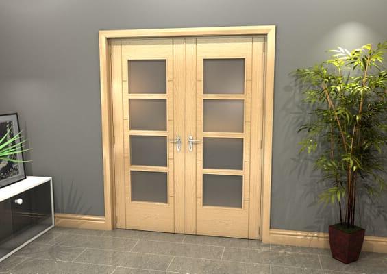 Oak Iseo 4L Obscure Glazed French Door Set 1580mm(W) x 2021mm(H)