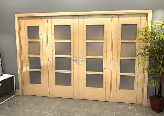 Oak Iseo 4 Light Frosted Glazed French Doors