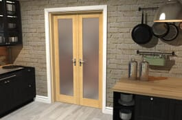 P10 Prefinished Frosted Oak Internal French Doors Image