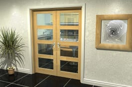 4L Prefinished Oak Internal French Doors Image