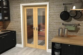 P10 Oak Internal French Doors Image