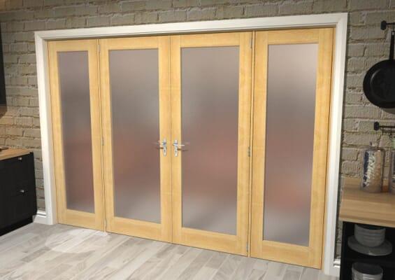 Oak Obscure Glazed French Door Set 2076mm(W) x 2021mm(H)