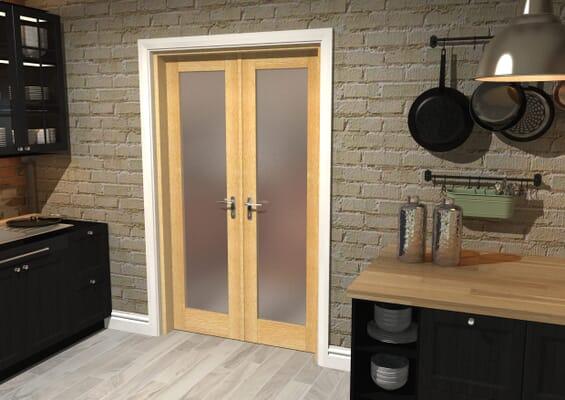 Oak Obscure Glazed French Door Set 1426mm(W) x 2021mm(H)