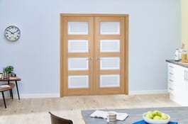 4L Contemporary Oak French Doors Image