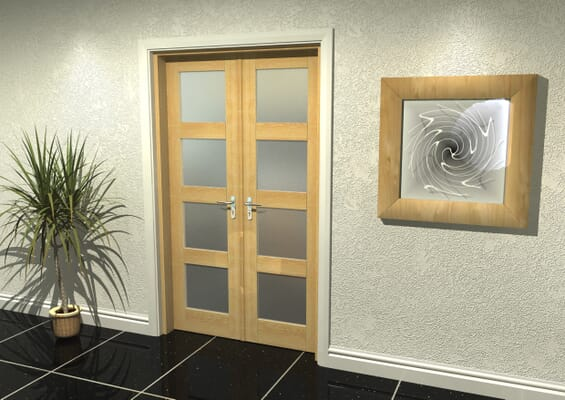 Oak 4 Light Frosted French Door Set 1122mm(W) x 2021mm(H)