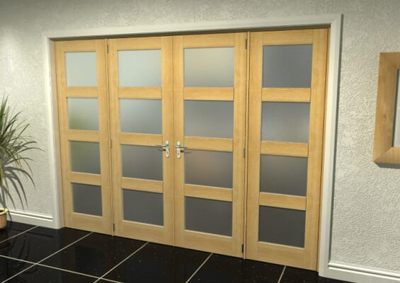 Oak 4 Light Frosted French Door Set 2076mm(W) x 2021mm(H)