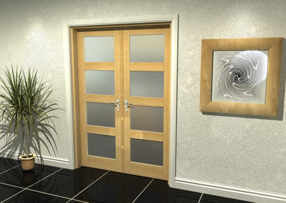 Oak 4 Light Frosted French Door Set 1426mm(W) x 2021mm(H)