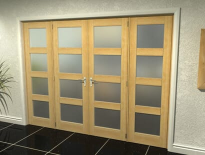 Oak Unfinished Shaker 4l Frosted Room Divider Range Image