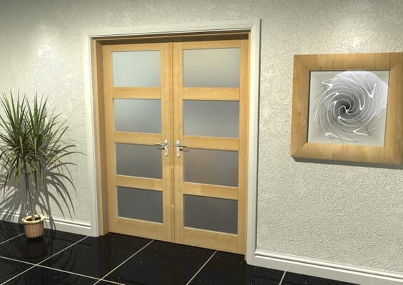 Oak 4 Light Frosted French Door Set 1580mm(W) x 2021mm(H)