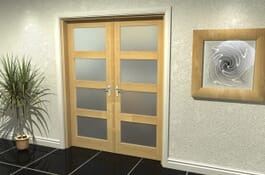 4L Oak Obscure Internal French Doors Image