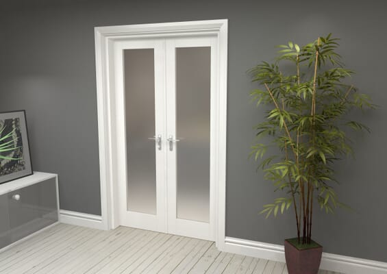 White Obscure Glazed French Door Set 1122mm(W) x 2021mm(H)