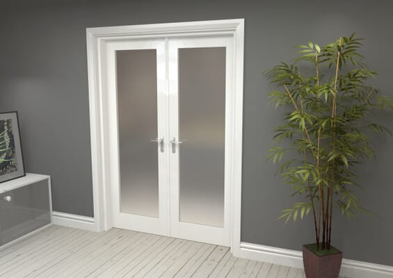 White Obscure Glazed French Door Set 1426mm(W) x 2021mm(H)