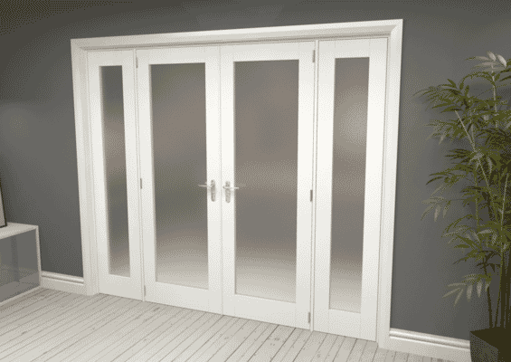 White Obscure Glazed French Door Set 2454mm(W) x 2021mm(H)