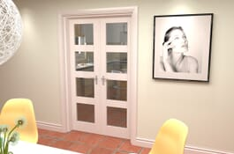 4L White Primed Internal French Doors Image