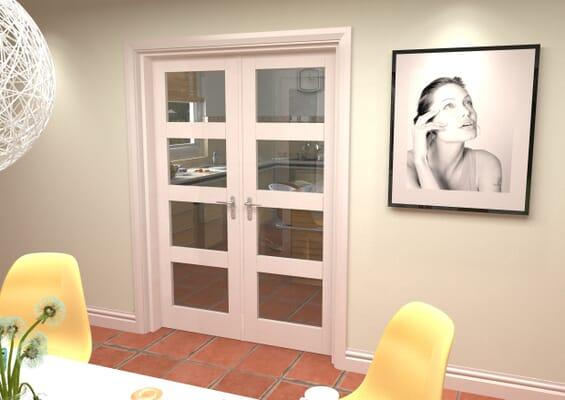 White 4L French Door Set 1426mm(W) x 2021mm(H)