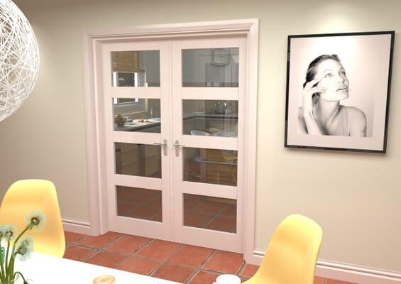 White 4L French Door Set 1580mm(W) x 2021mm(H)