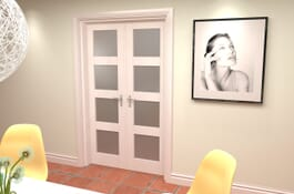 4L White Primed Frosted Internal French Doors Image