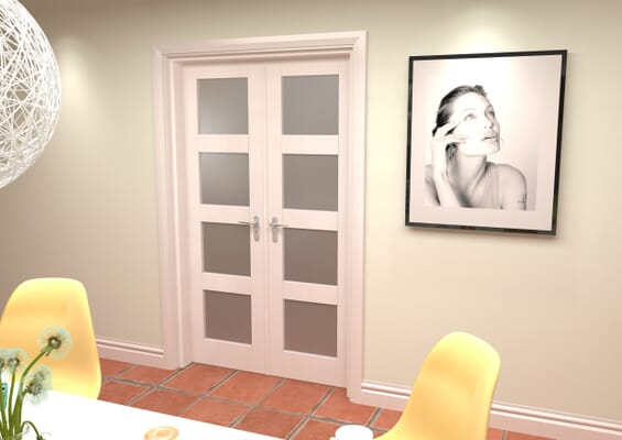 White 4L Frosted French Door Set 1276mm(W) x 2021mm(H)