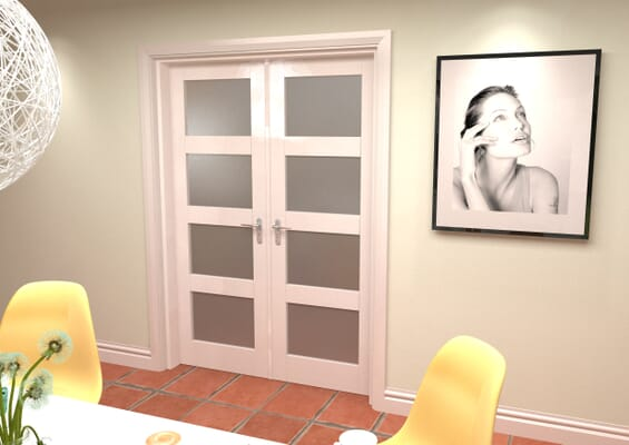 White 4L Frosted French Door Set 1426mm(W) x 2021mm(H)