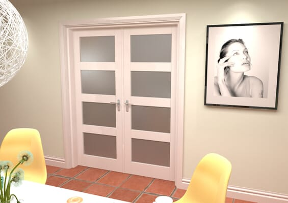 White 4L Frosted French Door Set 1580mm(W) x 2021mm(H)