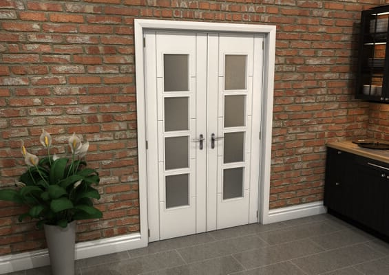 White Iseo 4L Obscure Glazed French Door Set 1276mm(W) x 2021mm(H)
