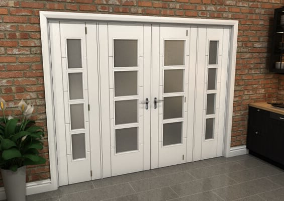 White Iseo 4L Obscure Glazed French Door Set 2684mm(W) x 2021mm(H)