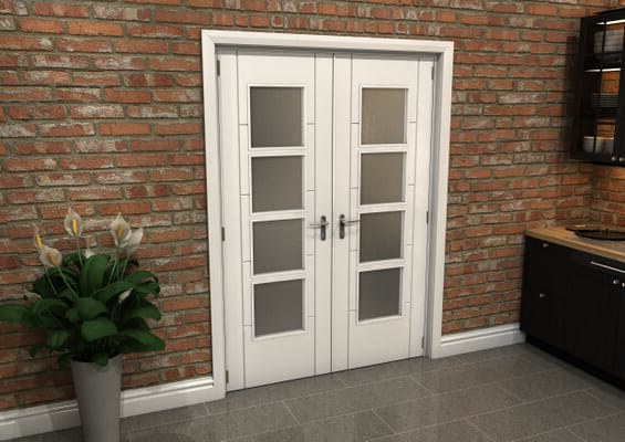 White Iseo 4L Obscure Glazed French Door Set 1426mm(W) x 2021mm(H)