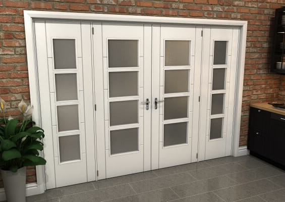 White Iseo 4L Obscure Glazed French Door Set 2836mm(W) x 2021mm(H)