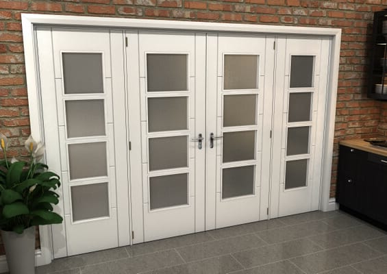White Iseo 4L Obscure Glazed French Door Set 2996mm(W) x 2021mm(H)