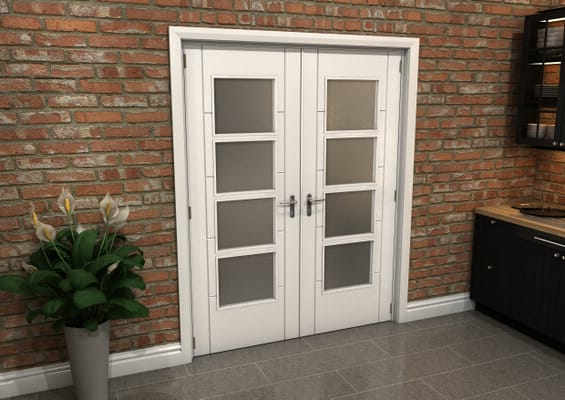 White Iseo 4L Obscure Glazed French Door Set 1580mm(W) x 2021mm(H)