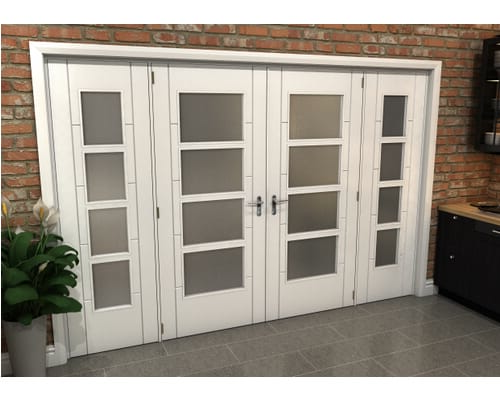 White Iseo 4 Light Frosted Glazed French Doors