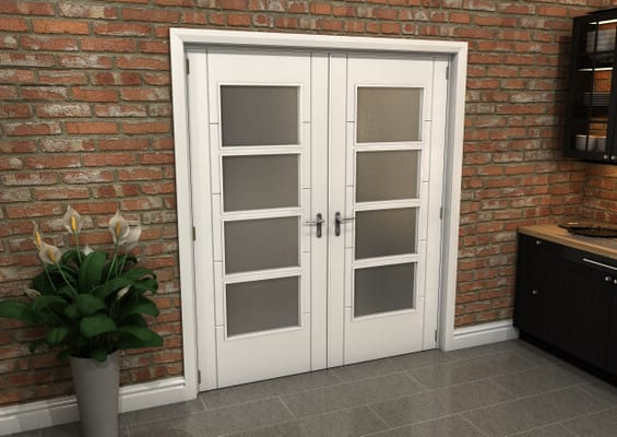 White Iseo 4L Obscure Glazed French Door Set 1732mm(W) x 2021mm(H)