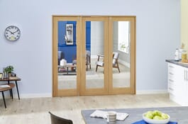 Shaker Glazed Oak Prefinished FrenchFold Doors Image