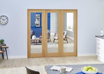 Prefinished Oak French Folding Room Divider - Clear