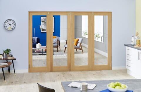 Prefinished Glazed Oak Shaker Frenchfold Room Divider
