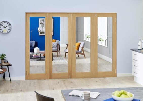 Prefinished Oak P10 Folding Room Divider 8ft (2400mm) set